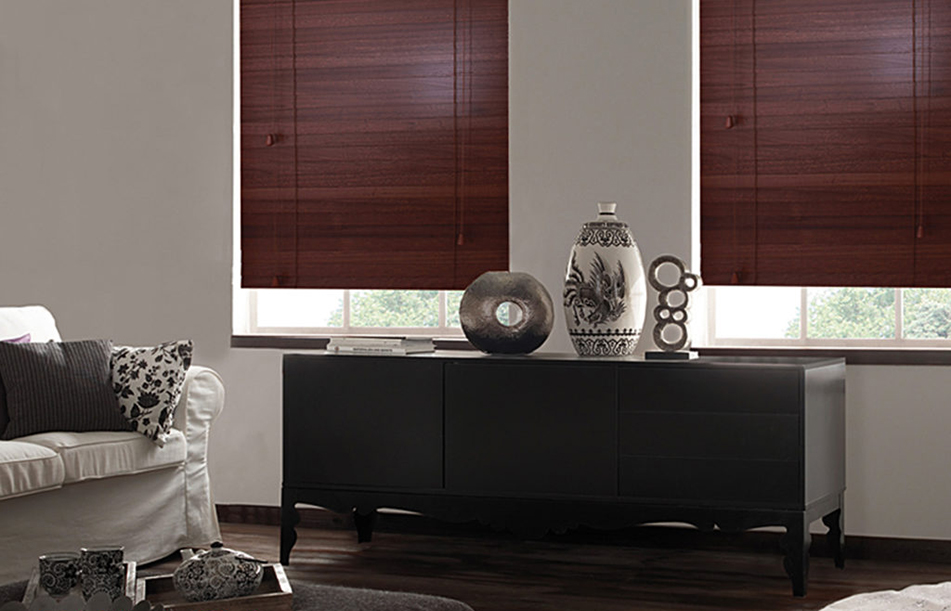 Wooden blinds in a dark living room