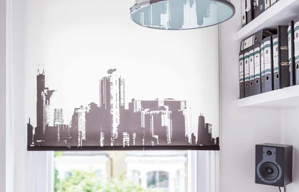 Blinds with a city skyline on them