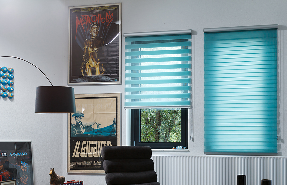 modern blue duoroll blinds in welwyn garden city study