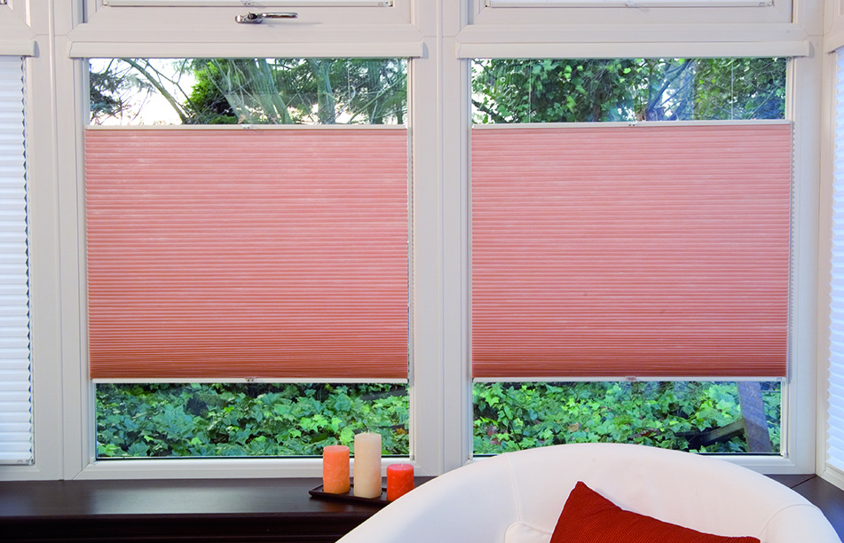 Light Orange pleated blinds