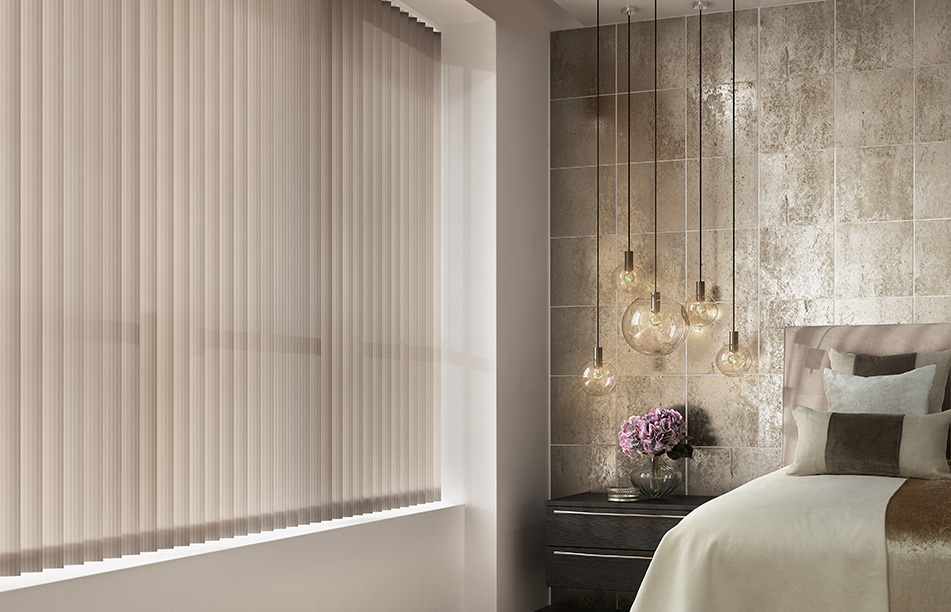 Vertical blinds in a brass themed bedroom