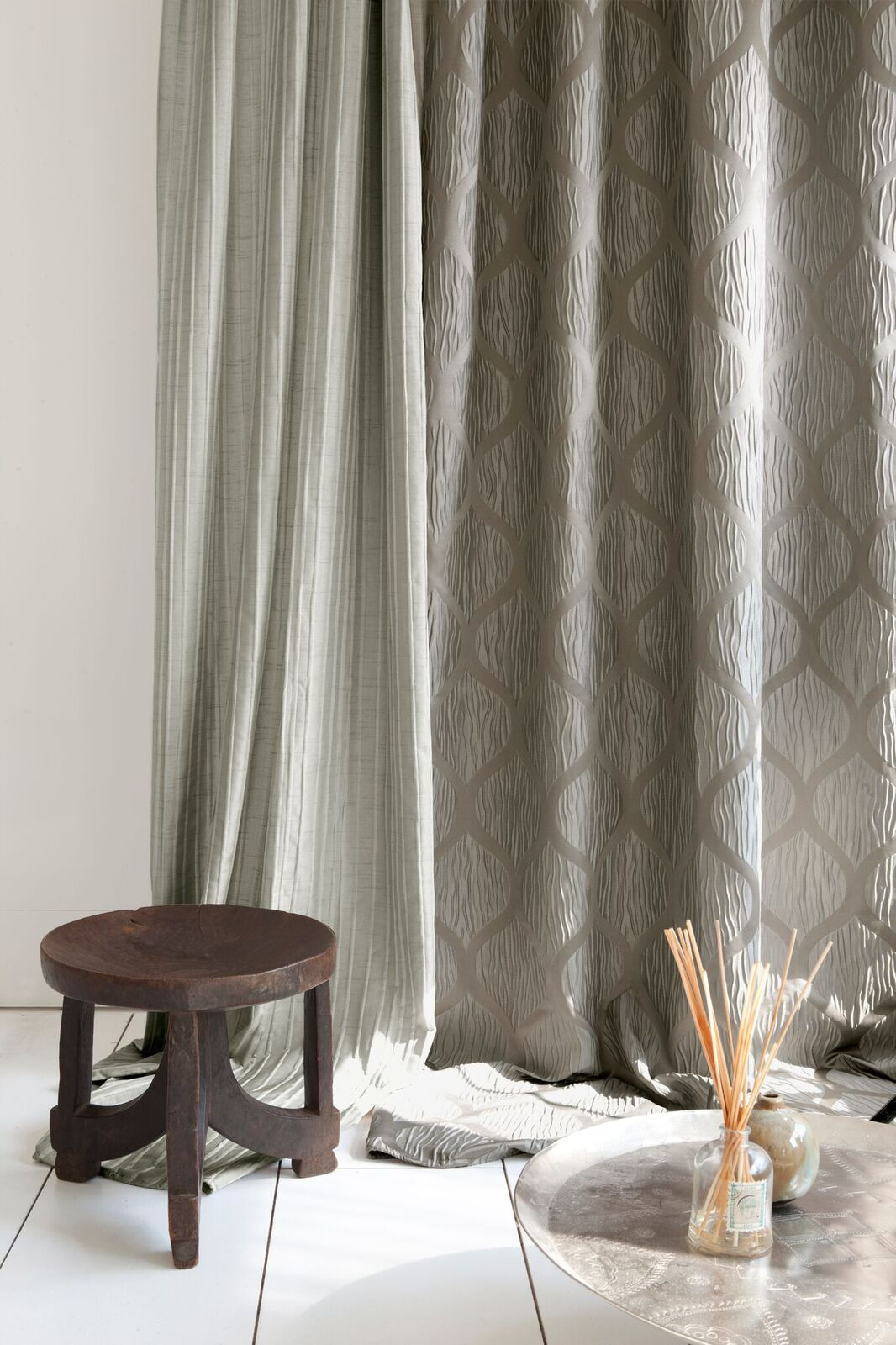 Wooden stall by curtains