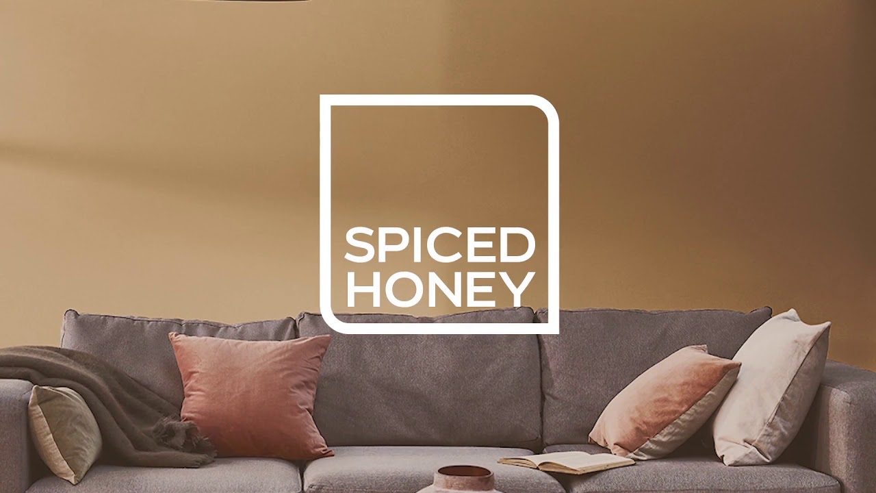 spiced honey room shot with dark grey sofa
