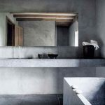 Concrete bathroom interior